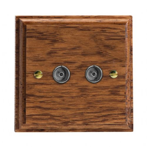 Varilight XK88MO Kilnwood Medium Oak 2 Gang Co-Axial TV Socket